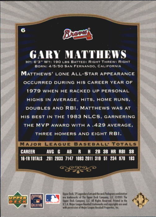 2001-SP-Legendary-Cuts-Baseball-YOU-PICK thumbnail 13