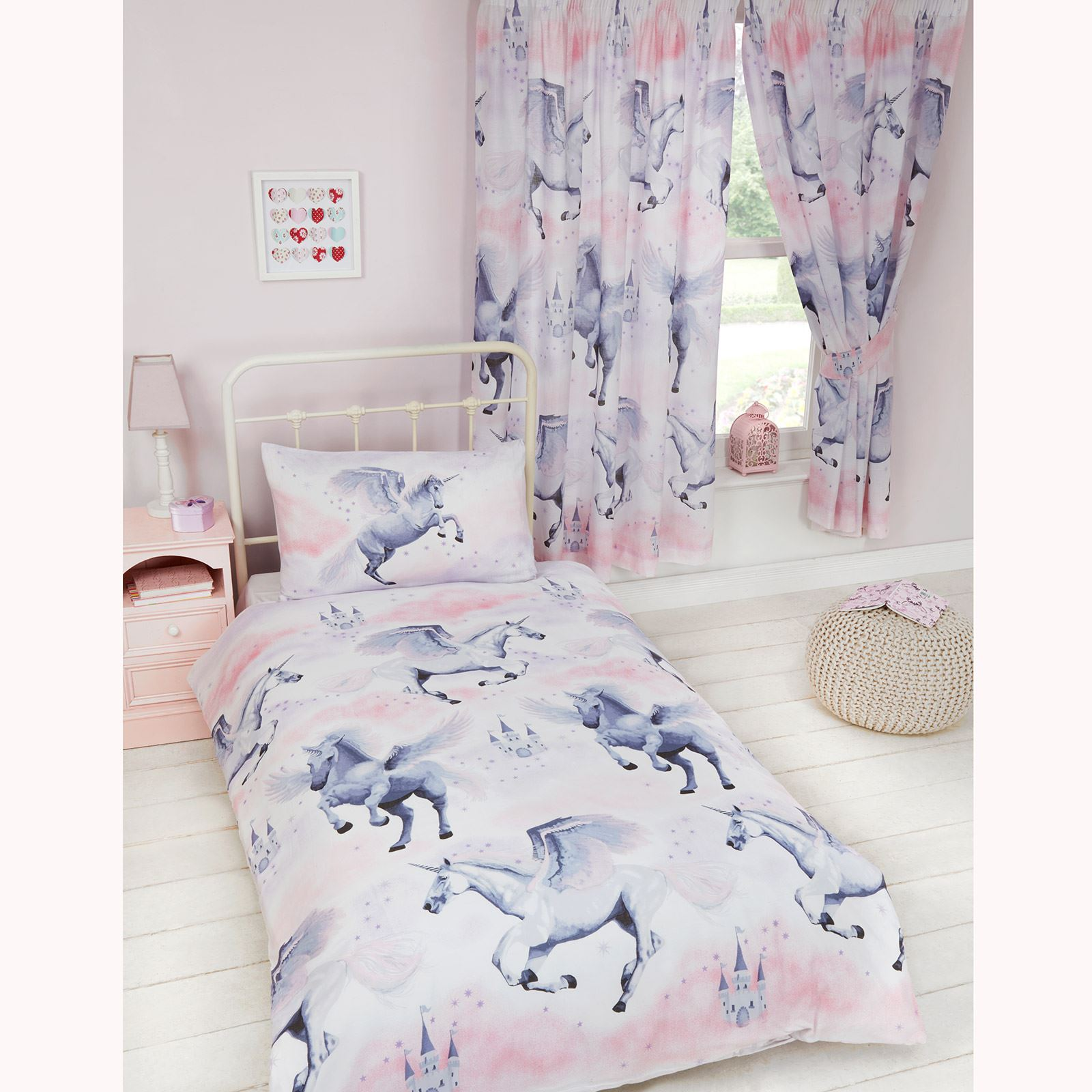 KIDS SINGLE DUVET COVER SETS BOYS GIRLS UNICORN