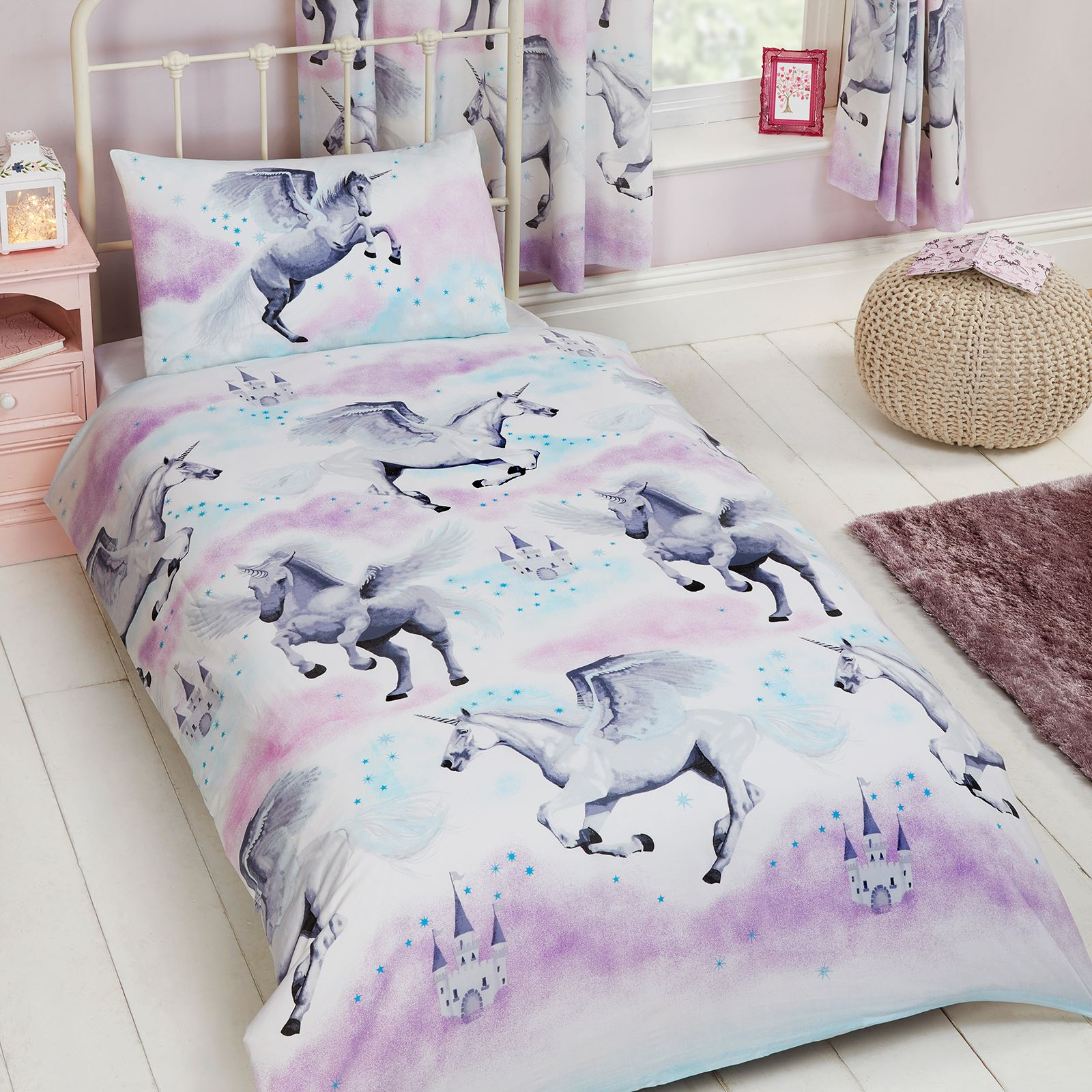 kids single duvet cover sets boys girls bedding unicorn. Black Bedroom Furniture Sets. Home Design Ideas