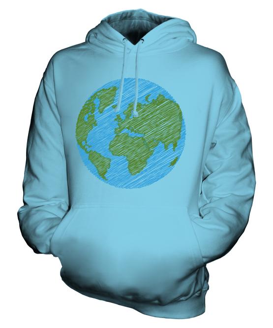 Gribouillé Earth Sweat à Planète Capuche Unisexe Haut Cadeau Paix Planète à 35e78b
