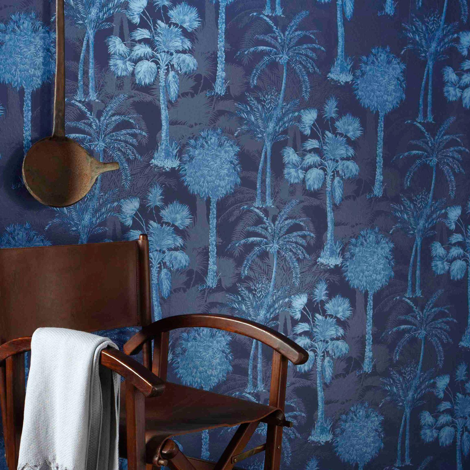 mitternachtsblau dunkel marineblau tapete schickeria. Black Bedroom Furniture Sets. Home Design Ideas