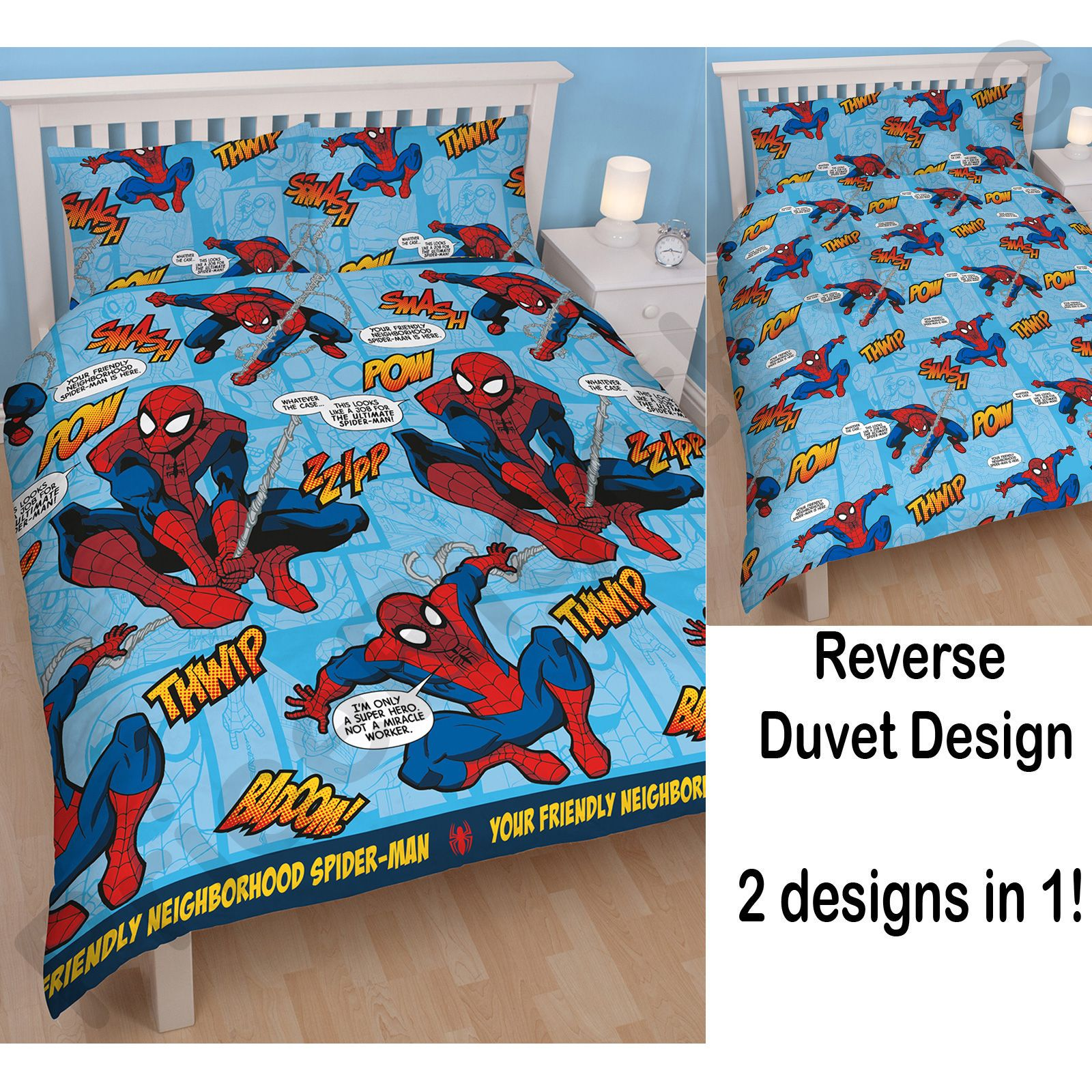 marvel spiderman housse de couette ensembles enfants gar ons literie ebay. Black Bedroom Furniture Sets. Home Design Ideas
