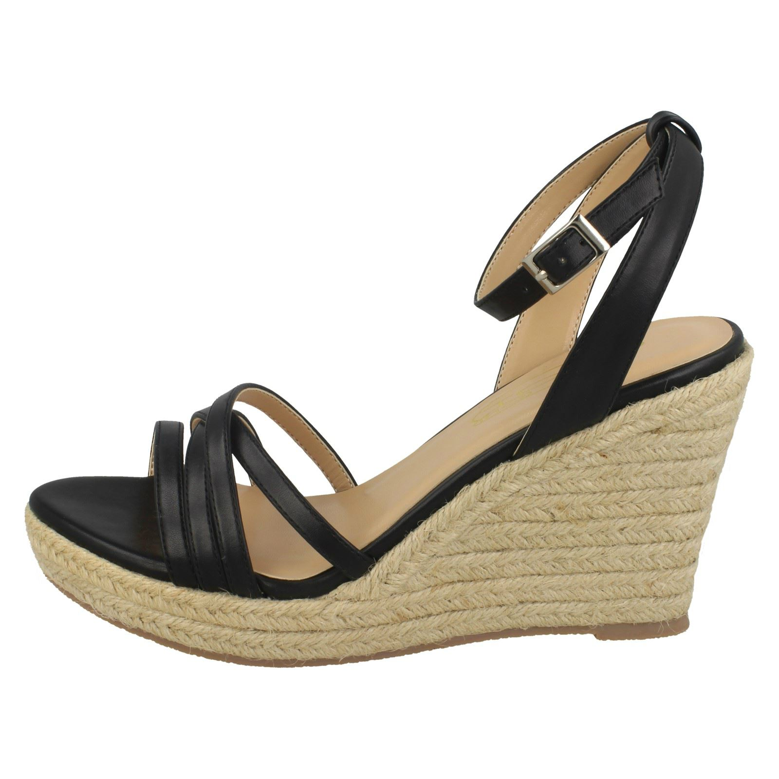 R13A Spot On F2R248 Ladies Mint Wedge Ankle Strap Sandals