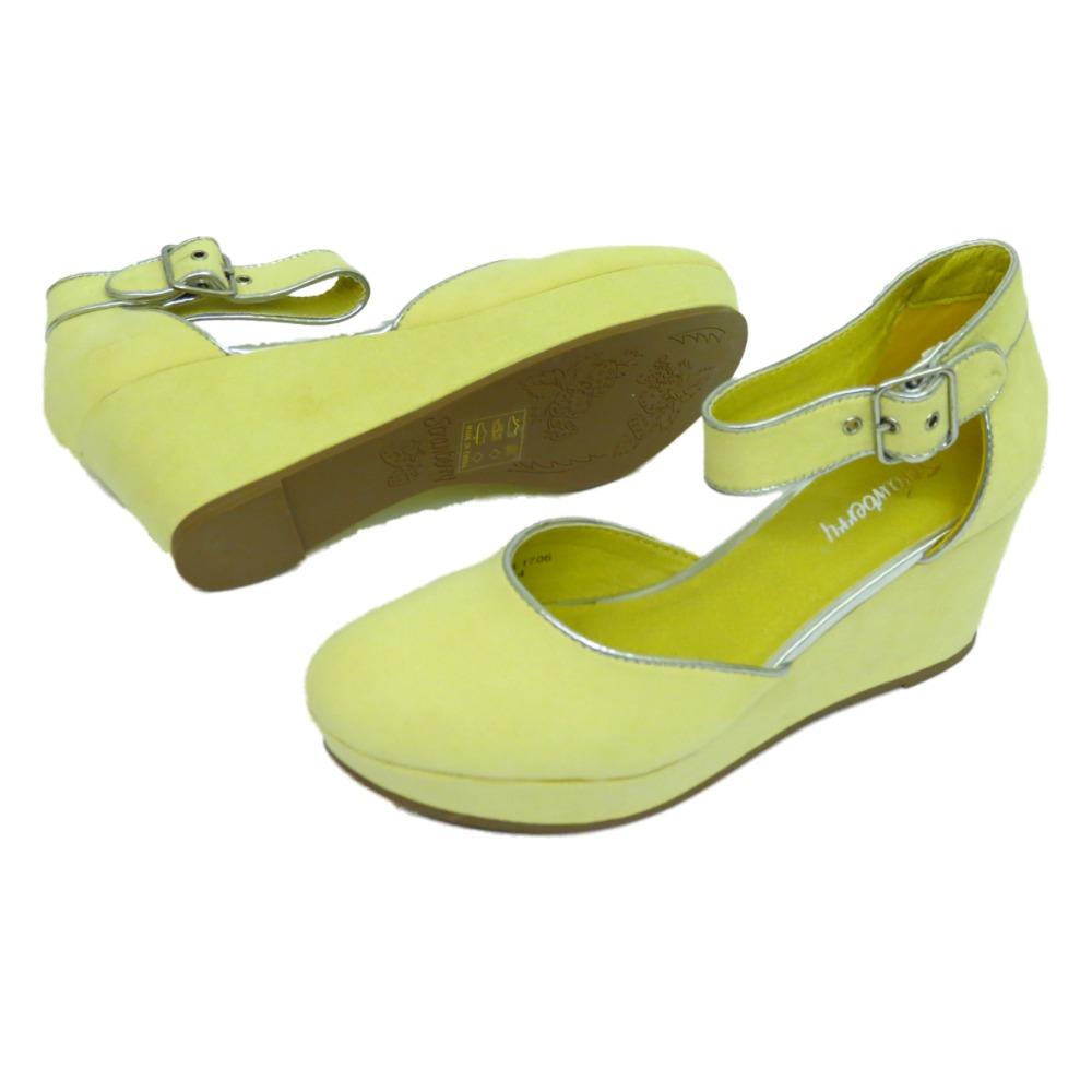 De mujer amarillo tac n cu a medio plataforma correa - Zapatos de trabajo ...