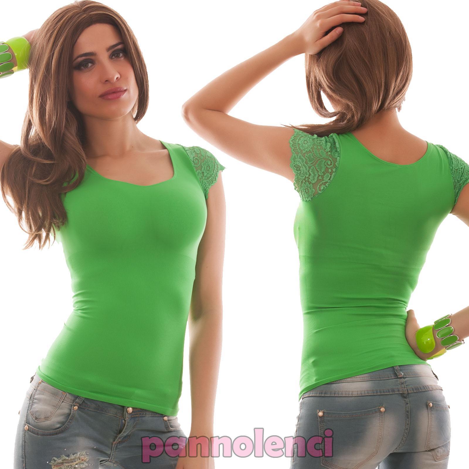 10f68eb4287 Pull Femme Haut T-Shirt Manches Dentelle Élastique Moulant Neuf W722 ...