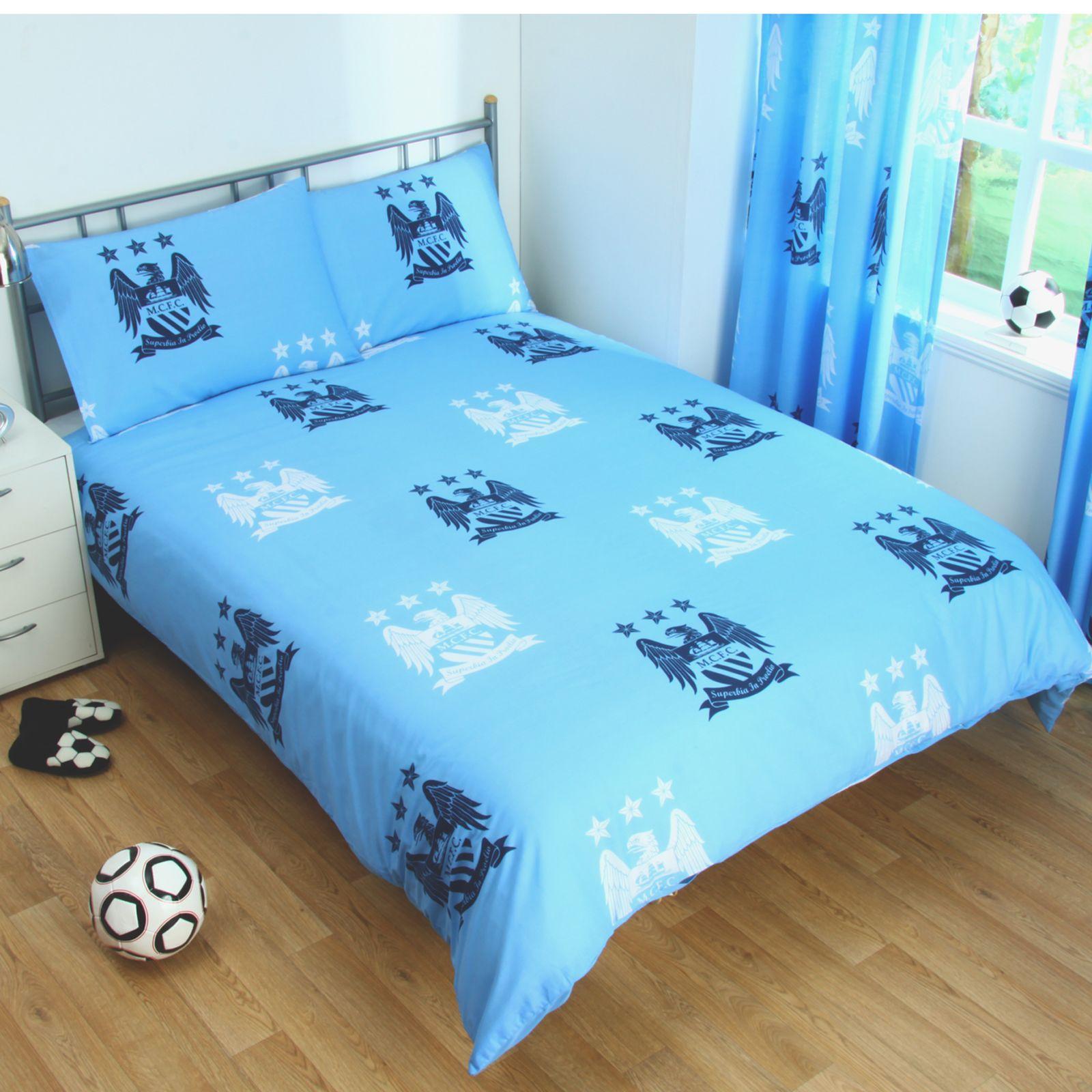 Manchester City Copripiumino Set Crest Blu Football Biancheria da Letto Letto Letto - 7292f6