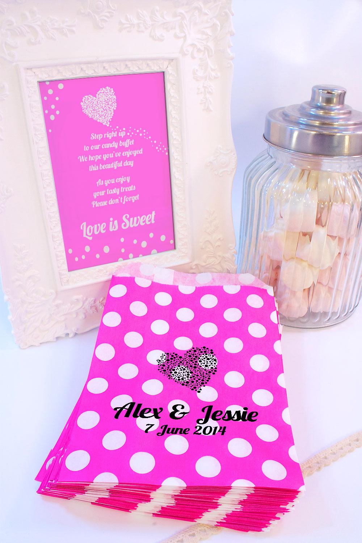 personnalis mariage sacs bonbon pois c ur cadeaux confettis fr ebay. Black Bedroom Furniture Sets. Home Design Ideas