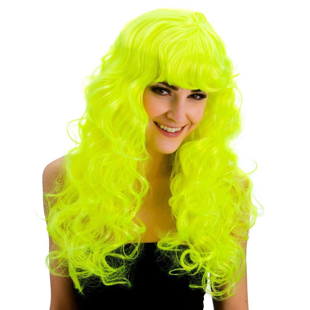 Mujer-Foxy-Sirena-Larga-Rizada-Flequillos-Glamour-ANOS-80-de-los-ochenta