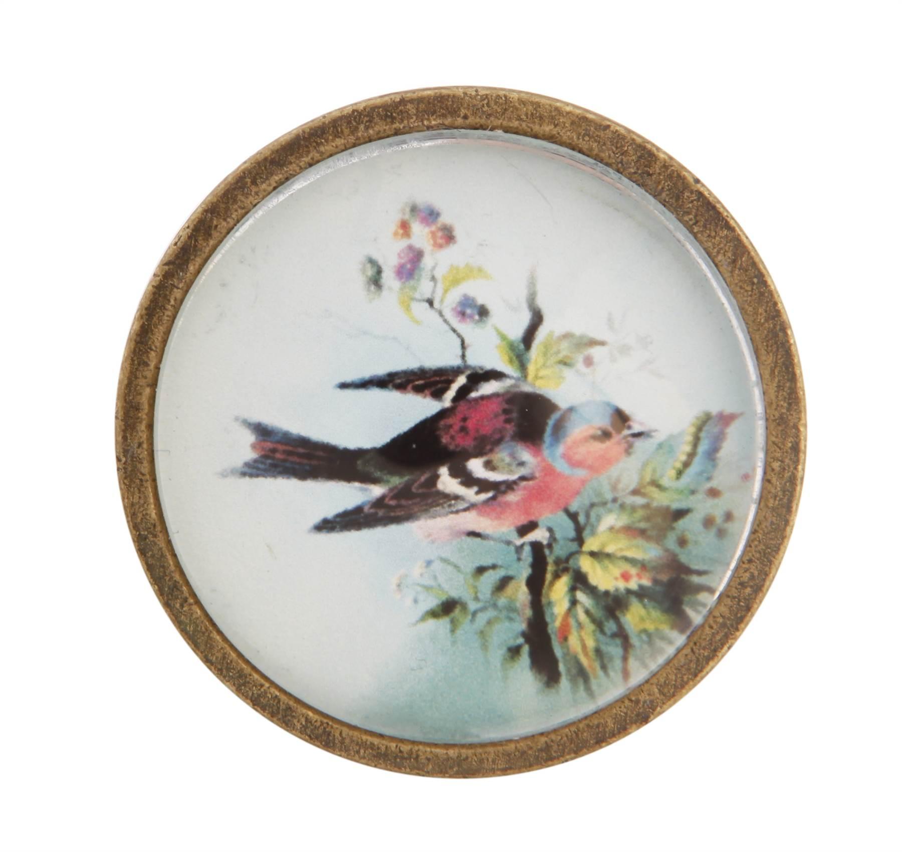 Uniques boutons verre peint meuble poign e vintage us chic oiseaux insectes - Poignee meuble vintage ...