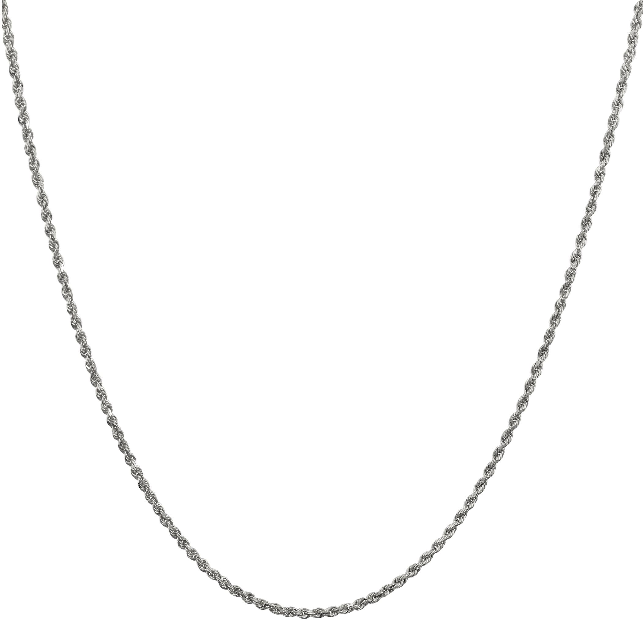 14k oro Bianco Massiccio 1.5mm Uomo Donna D C Collana Collana Collana con Ciondolo 40.6cm-66cm 5f0d03