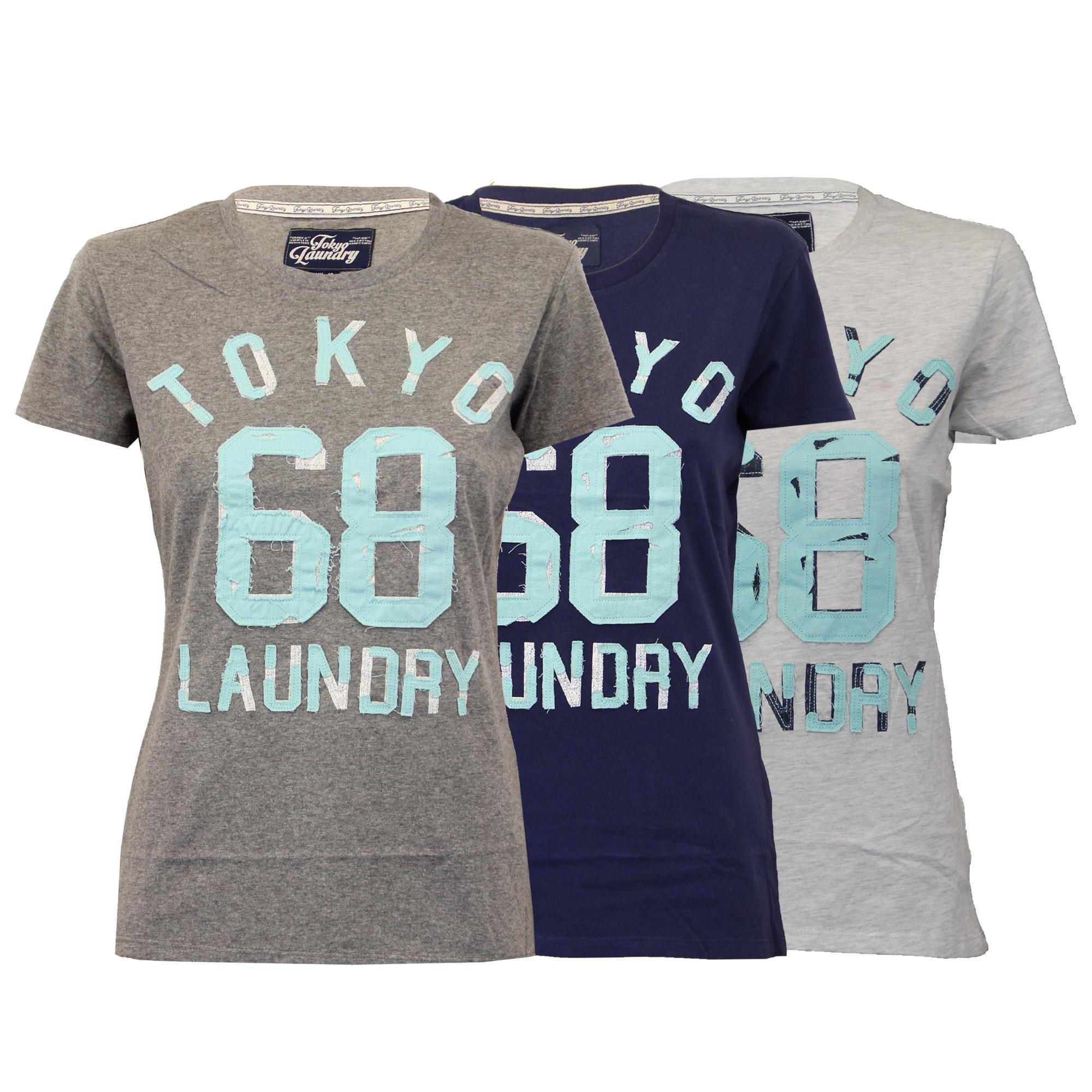 Haut-Femme-Tokyo-Laundry-T-Shirt-Femme-Mancheron-Ras-de-Cou-Retro-Ete-Neuf