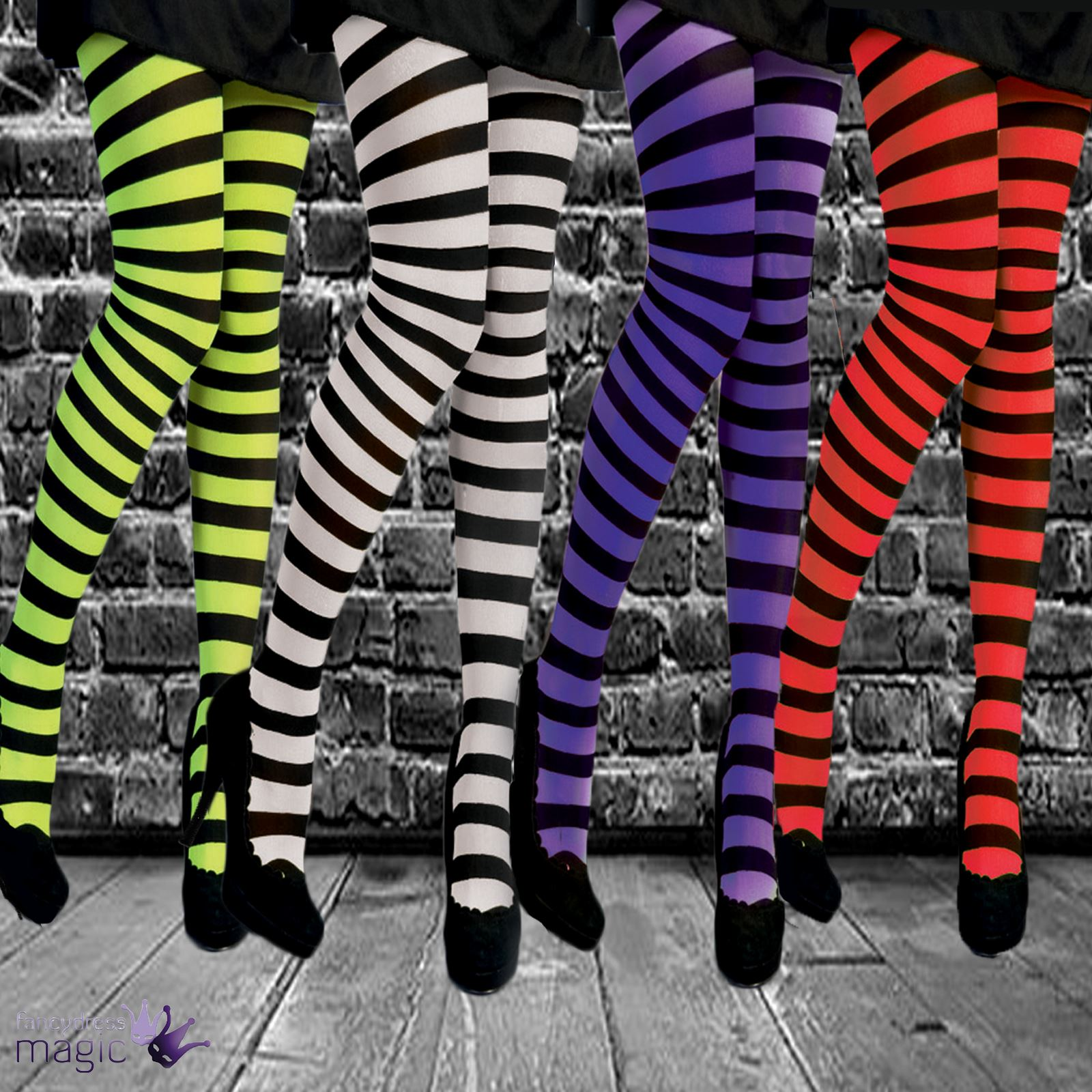 nina-infantil-rayas-de-rayas-negro-y-Neon-Medias-Disfraz-Halloween