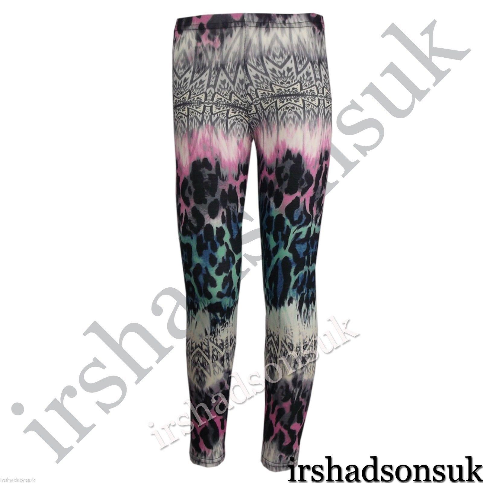 Ninas-Chicas-NEW-Temporada-Estampado-Leopardo-Legings-Midi-Vestido-Skater-falda
