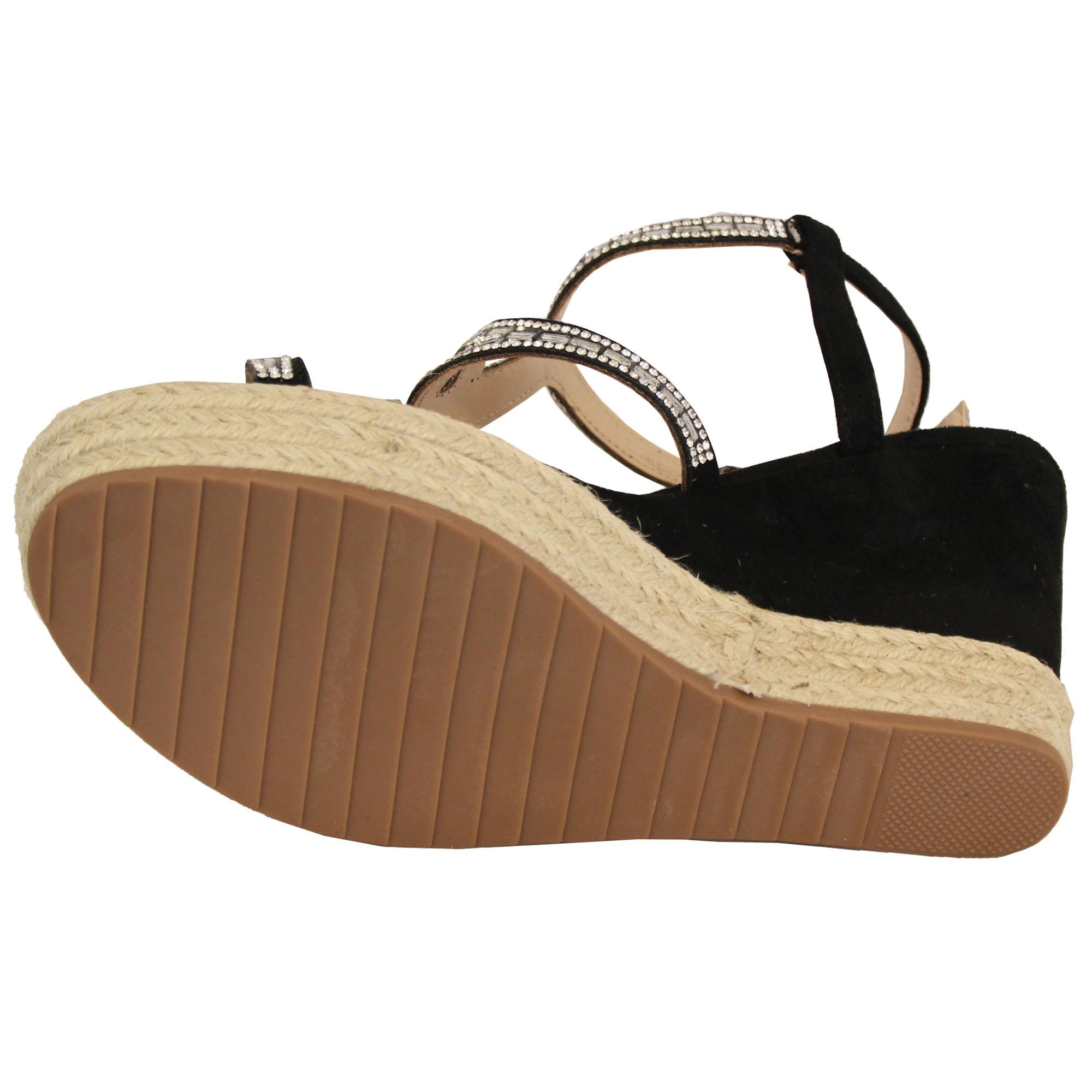 1742aff2c8a Ladies Platform Rope Sandals Womens Espadrilles Wedge Strap Diamante ...