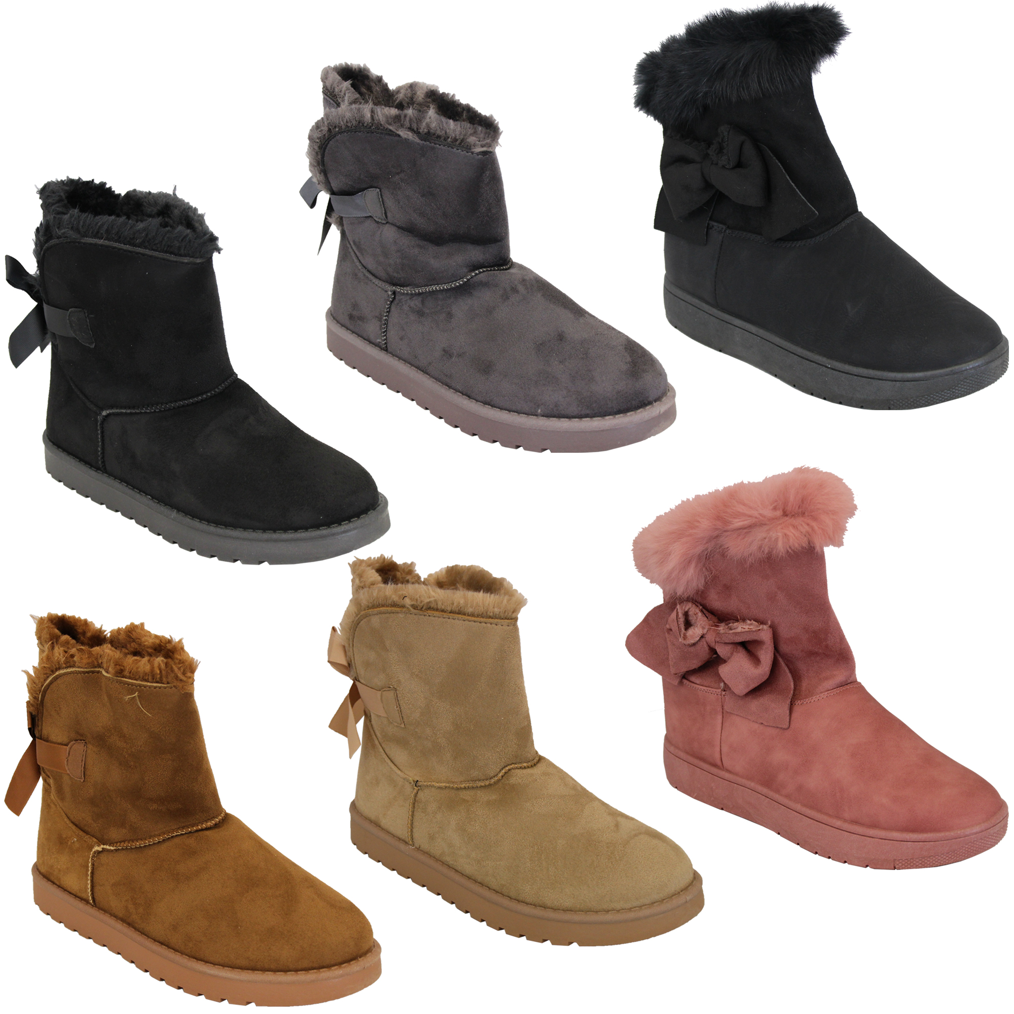 Details about Ladies Snow Ankle Boots Womens Suede Fur Lined Snuggle Shoes  Bow Winter New