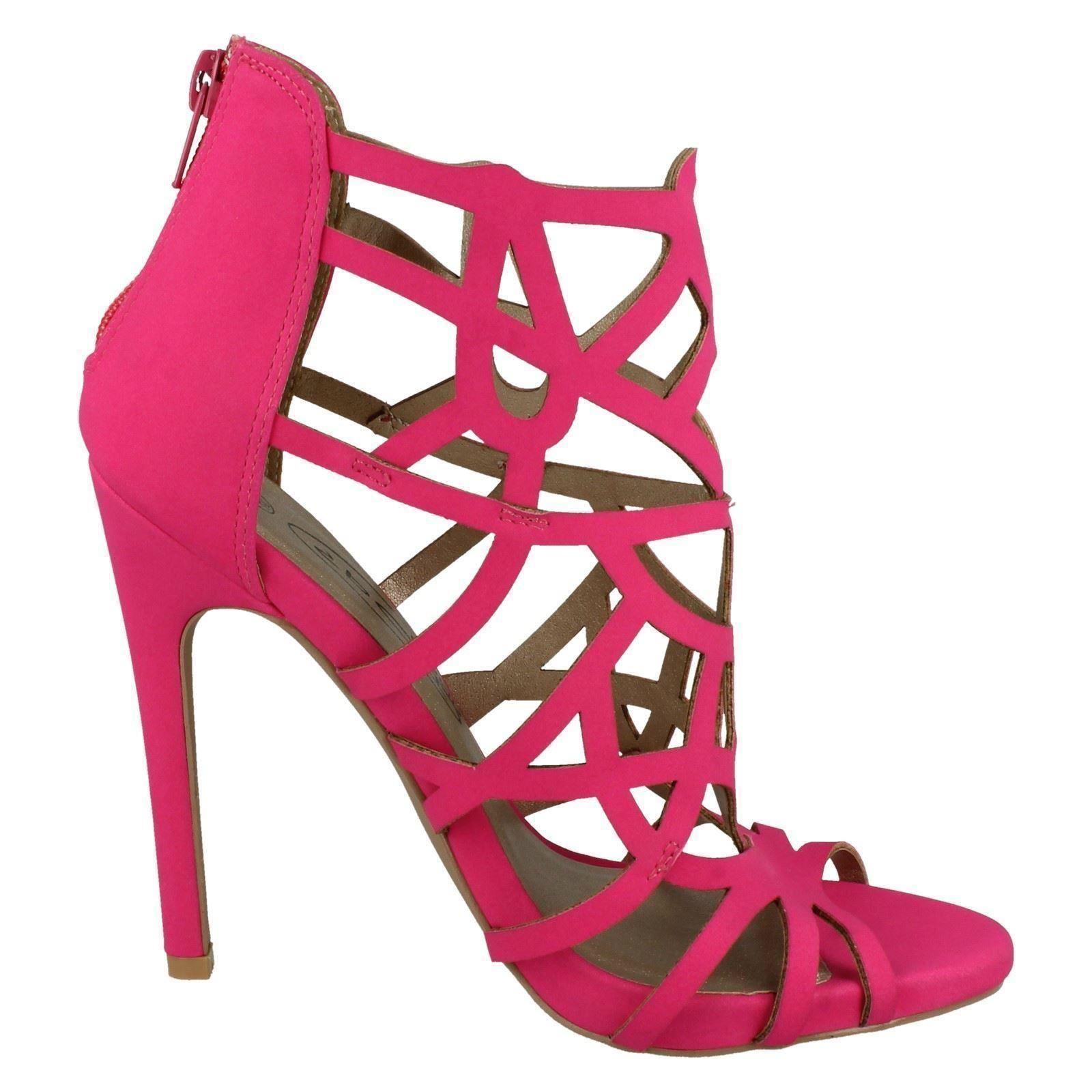 Ladies Spot On Fashion Peep Toe Cut Out Detail /'Heels/'