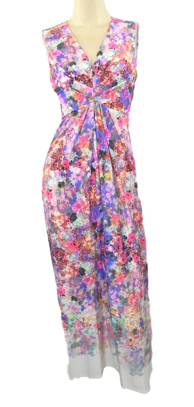 Marks-amp-Spencer-Multi-Floral-Elastico-Maxi-Vestido-Con-v-Escote