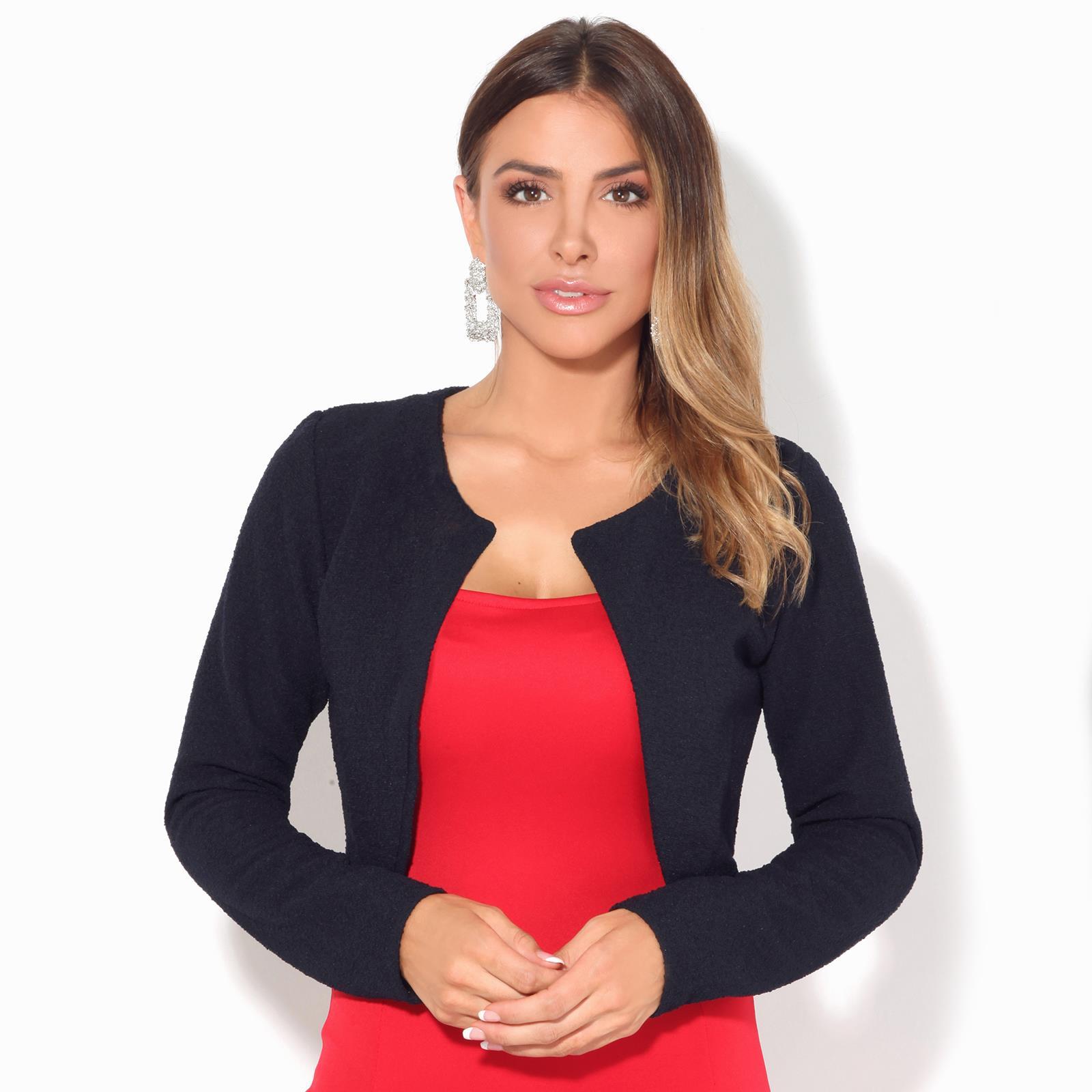 Donna-Maglia-Bolero-Coprispalle-Giacca-Top-Corto-Apri-Cardigan-Scialle-Moda-Work miniatura 6