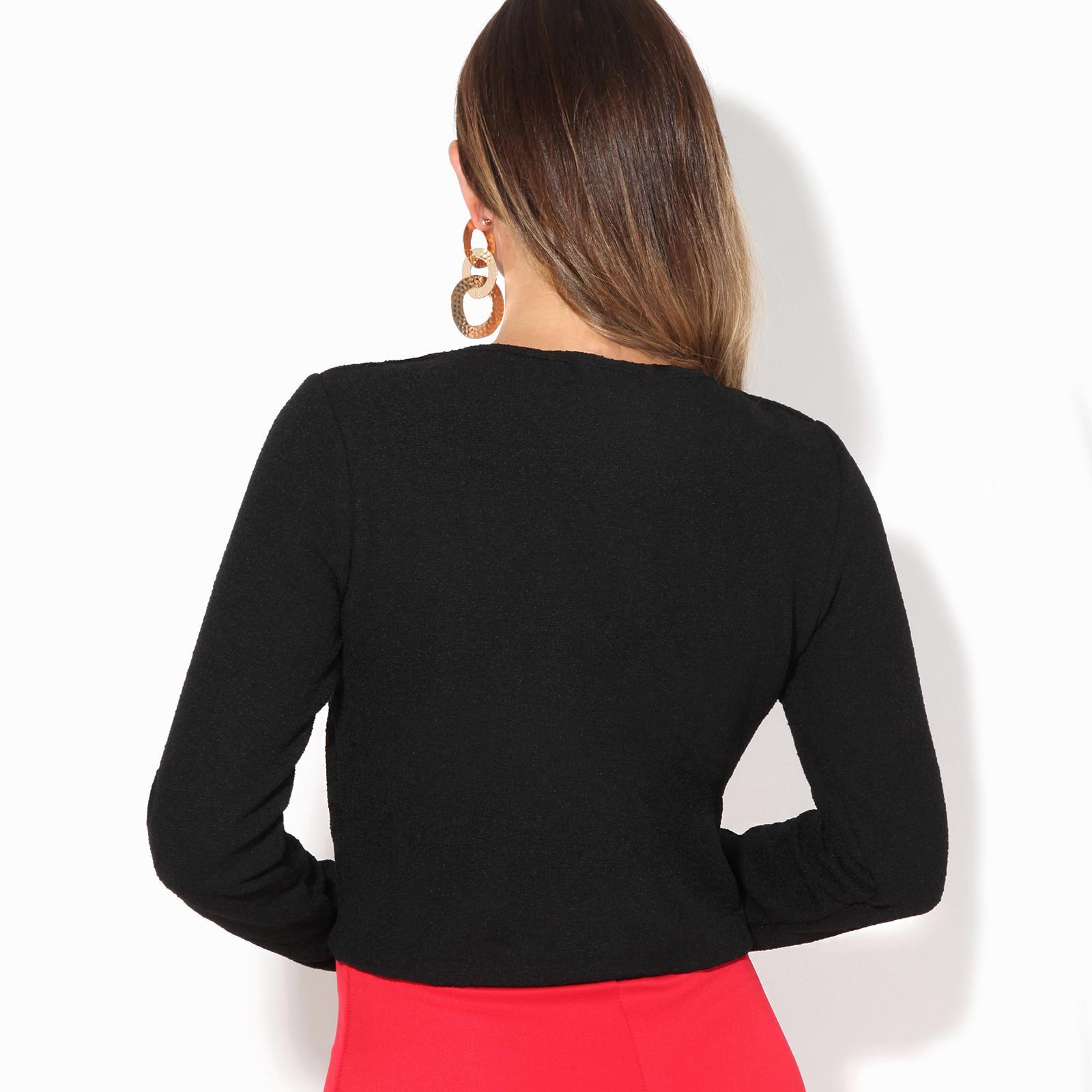 Donna-Maglia-Bolero-Coprispalle-Giacca-Top-Corto-Apri-Cardigan-Scialle-Moda-Work miniatura 4