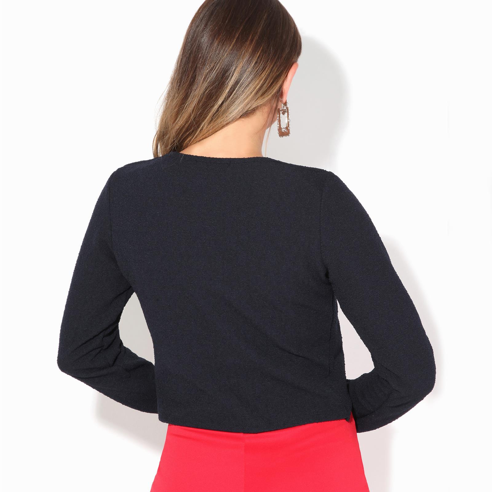 Donna-Maglia-Bolero-Coprispalle-Giacca-Top-Corto-Apri-Cardigan-Scialle-Moda-Work miniatura 7