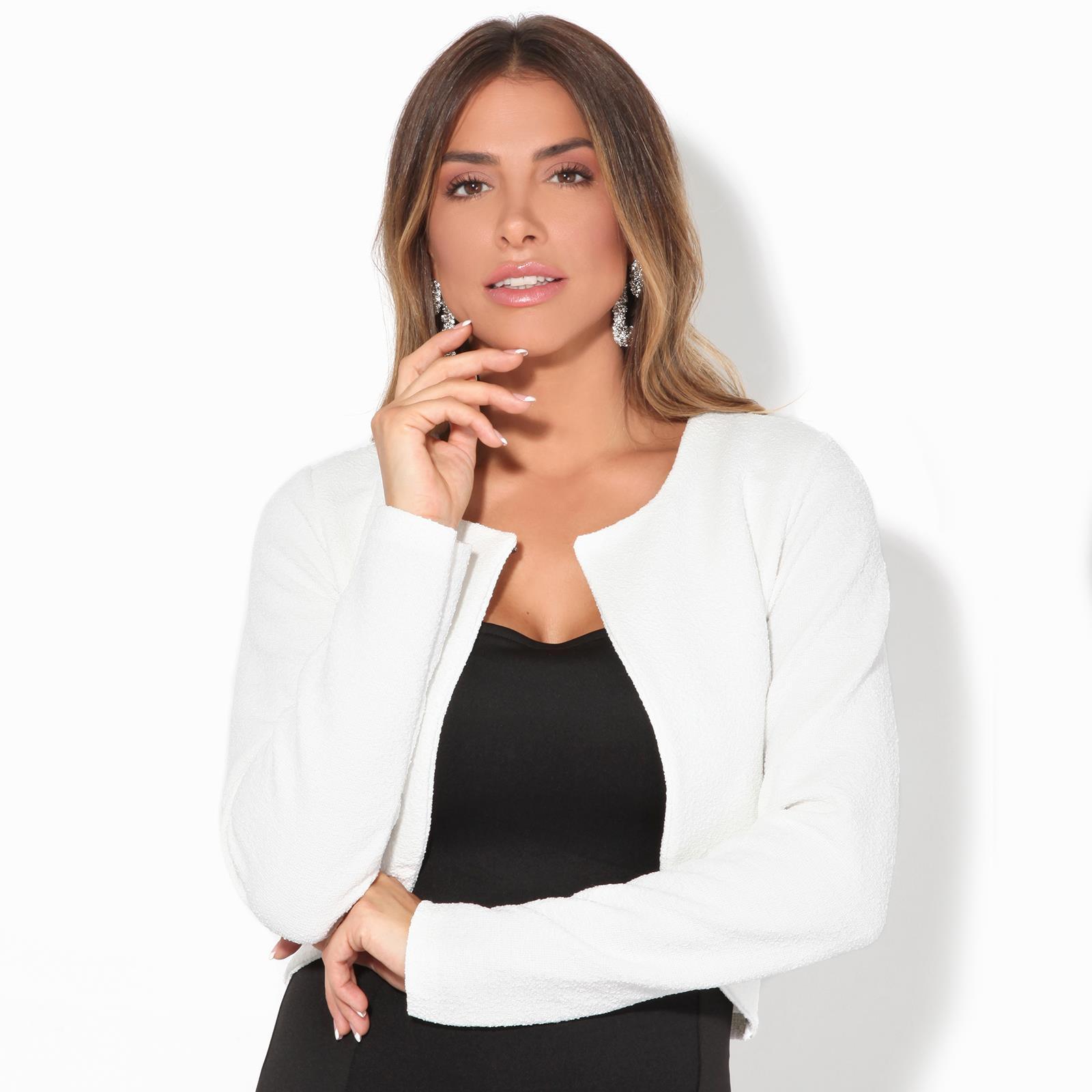 Donna-Maglia-Bolero-Coprispalle-Giacca-Top-Corto-Apri-Cardigan-Scialle-Moda-Work miniatura 12