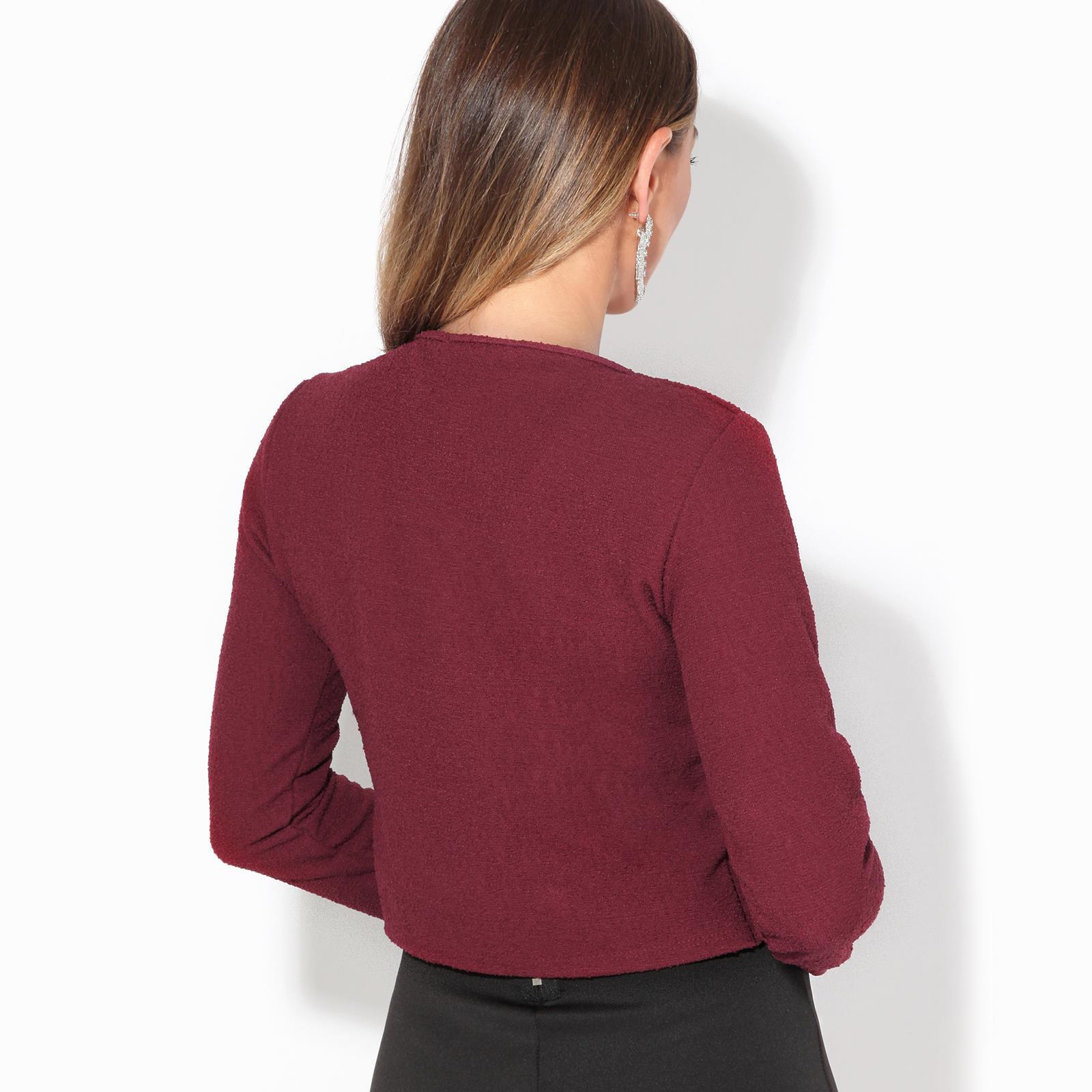 Donna-Maglia-Bolero-Coprispalle-Giacca-Top-Corto-Apri-Cardigan-Scialle-Moda-Work miniatura 16