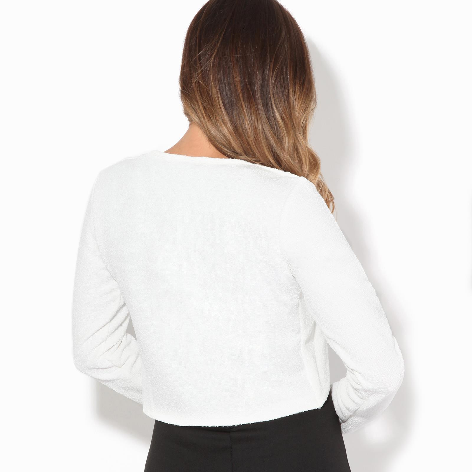 Donna-Maglia-Bolero-Coprispalle-Giacca-Top-Corto-Apri-Cardigan-Scialle-Moda-Work miniatura 13