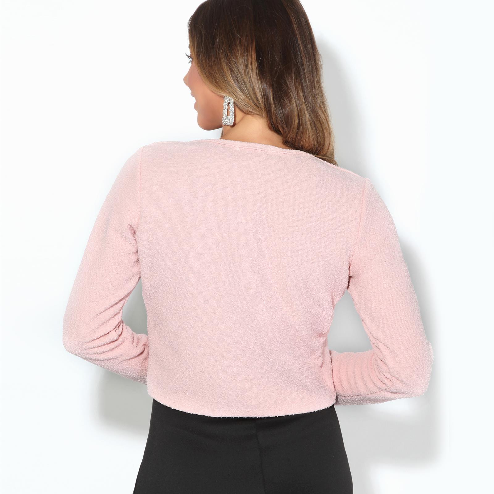 Donna-Maglia-Bolero-Coprispalle-Giacca-Top-Corto-Apri-Cardigan-Scialle-Moda-Work miniatura 10