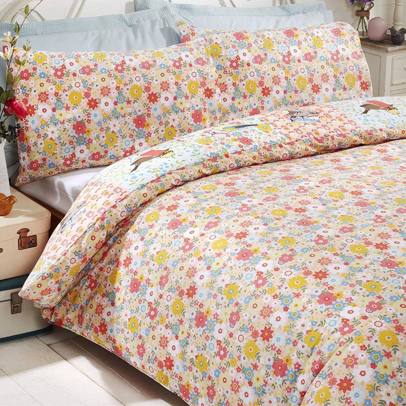 simple double king size set housse de couette literie licorne oiseaux floral ebay. Black Bedroom Furniture Sets. Home Design Ideas