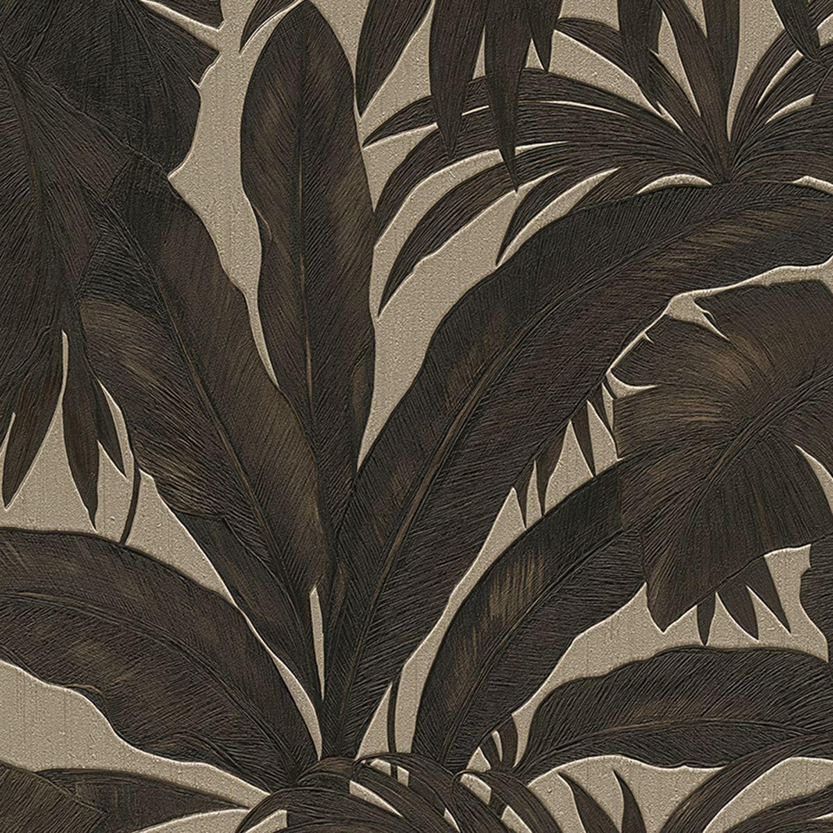 Versace Giungla Palmier Feuilles Luxe Papier Peint Metallise Noir