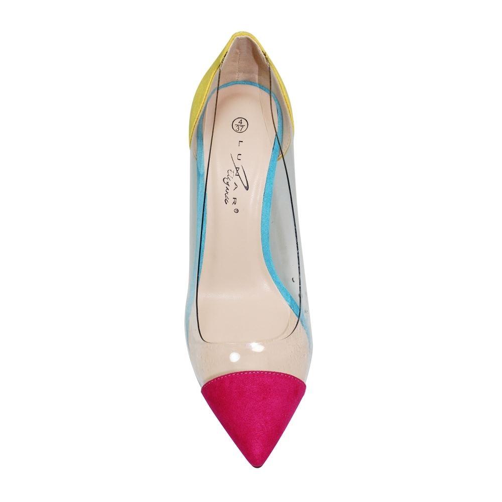 flr412 Luna Cortez Perspex durchsichtig Kunstwildleder Spitz zulaufend Stilettos