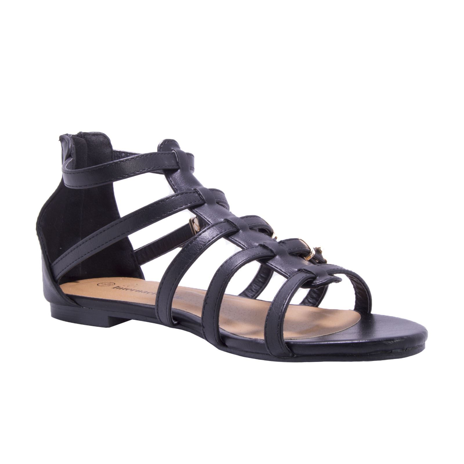 gladiator beach summer itm stud ladies womens shoes flat strappy sandals zip black