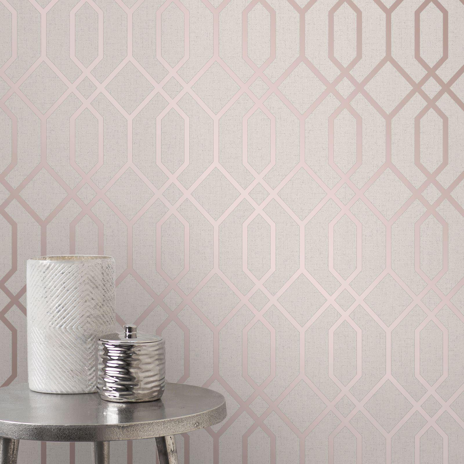Rotgold-Tapete-Grau-Creme-Exotisch-Blumen-Tropisch-Palme-Blaetter-Geometrisch Indexbild 64