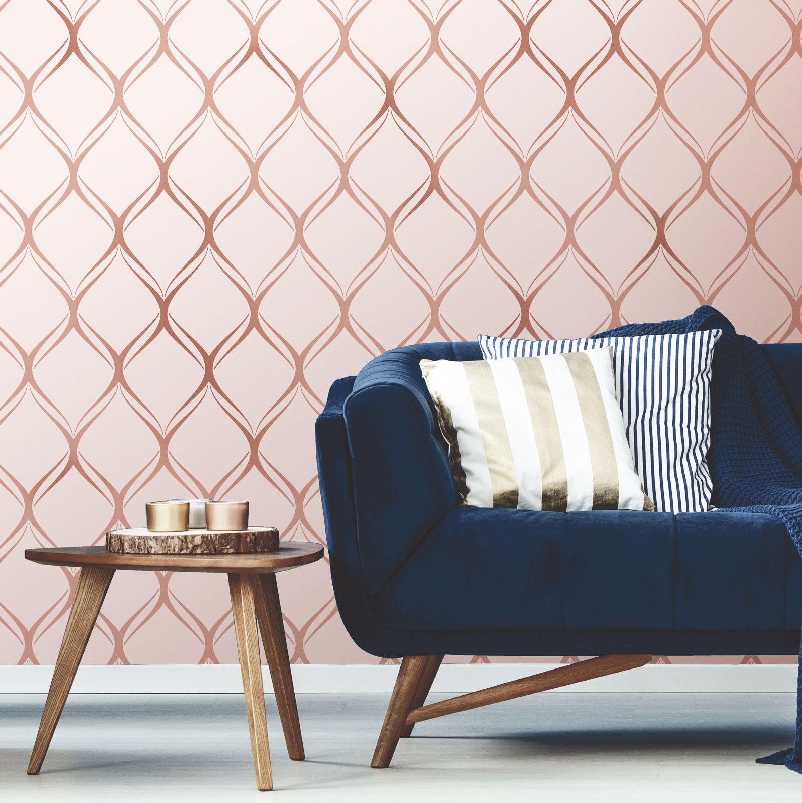 Rotgold-Tapete-Grau-Creme-Exotisch-Blumen-Tropisch-Palme-Blaetter-Geometrisch Indexbild 16