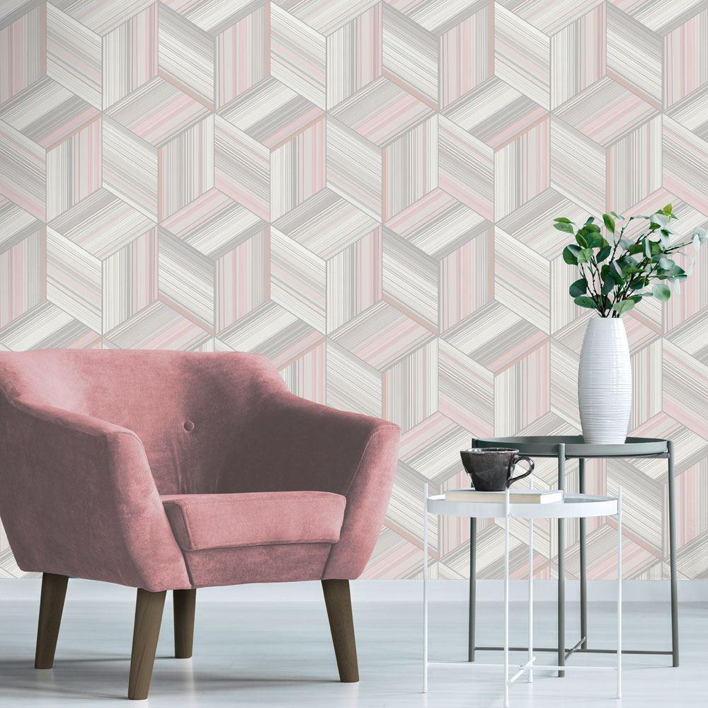 Rotgold-Tapete-Grau-Creme-Exotisch-Blumen-Tropisch-Palme-Blaetter-Geometrisch Indexbild 28