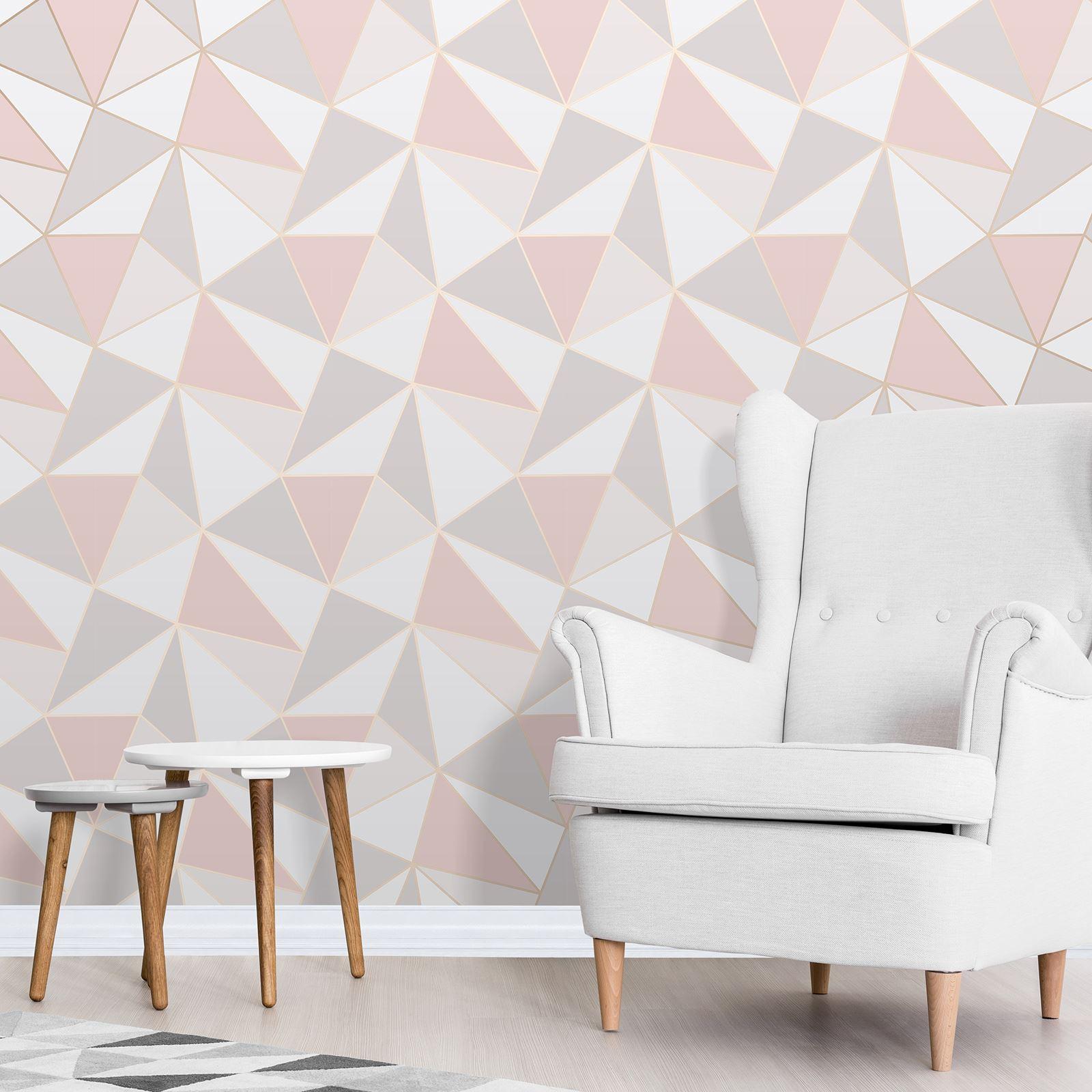 Rotgold-Tapete-Grau-Creme-Exotisch-Blumen-Tropisch-Palme-Blaetter-Geometrisch Indexbild 6