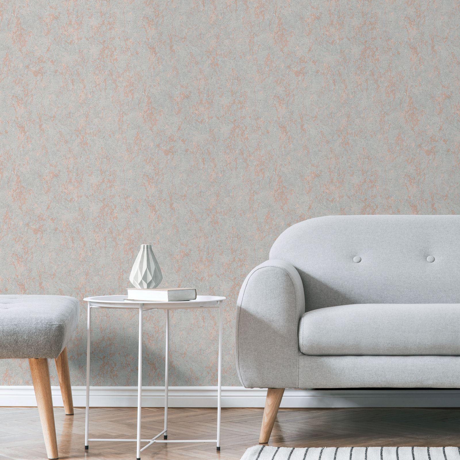 Rotgold-Tapete-Grau-Creme-Exotisch-Blumen-Tropisch-Palme-Blaetter-Geometrisch Indexbild 10