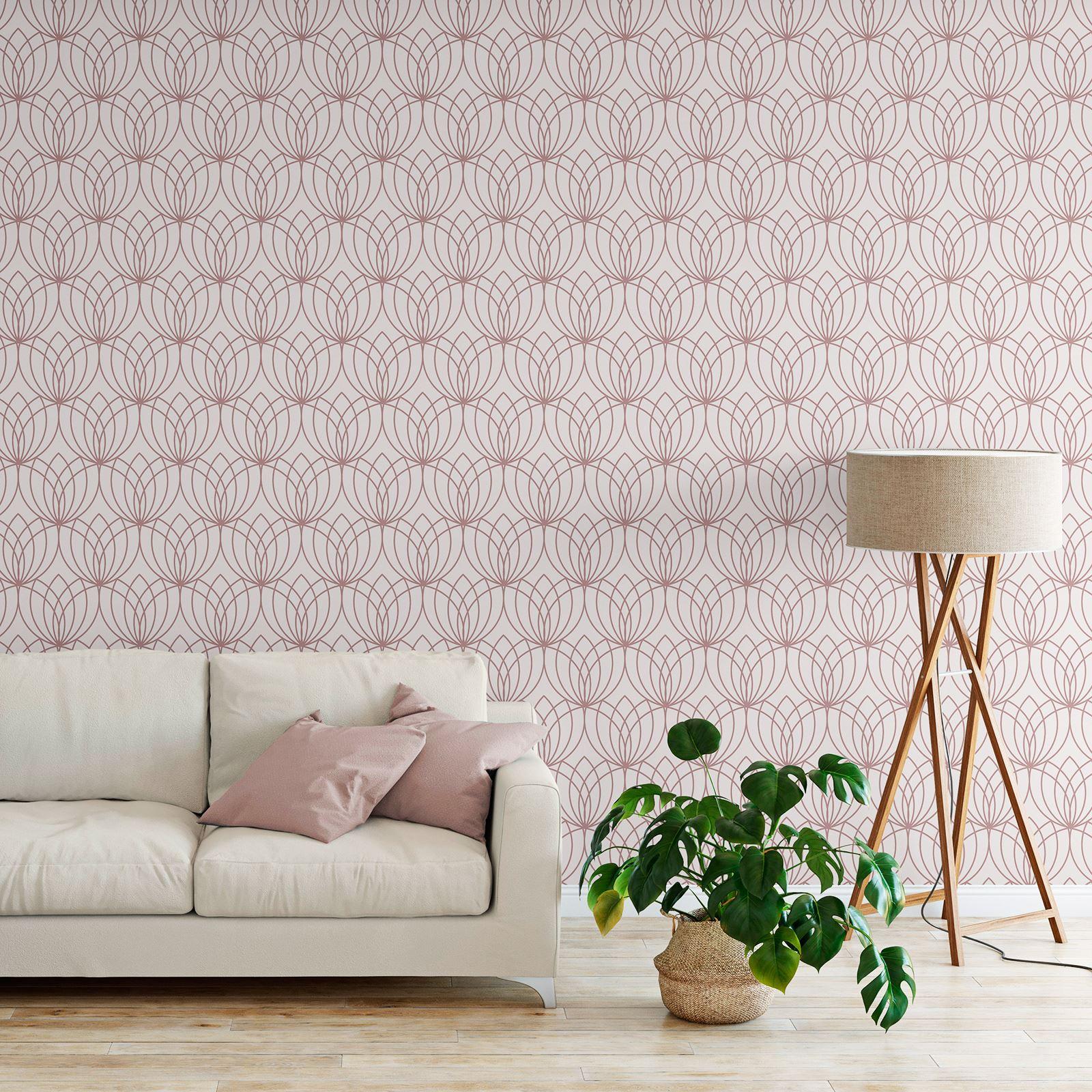Rotgold-Tapete-Grau-Creme-Exotisch-Blumen-Tropisch-Palme-Blaetter-Geometrisch Indexbild 36