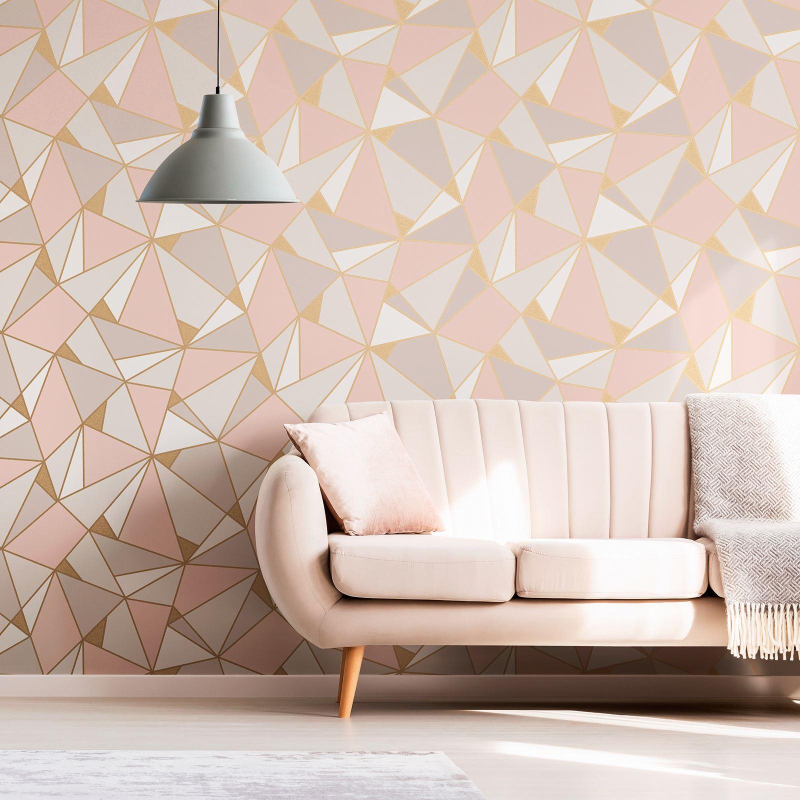 Rotgold-Tapete-Grau-Creme-Exotisch-Blumen-Tropisch-Palme-Blaetter-Geometrisch Indexbild 72