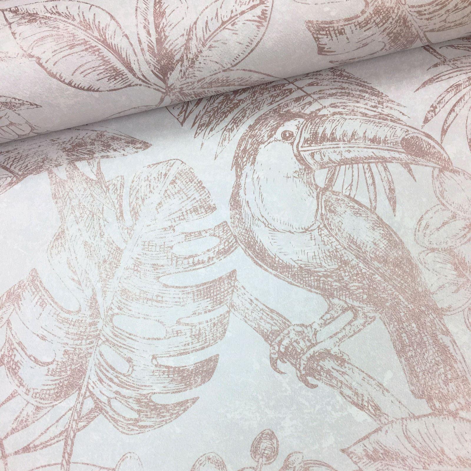Rotgold-Tapete-Grau-Creme-Exotisch-Blumen-Tropisch-Palme-Blaetter-Geometrisch Indexbild 66