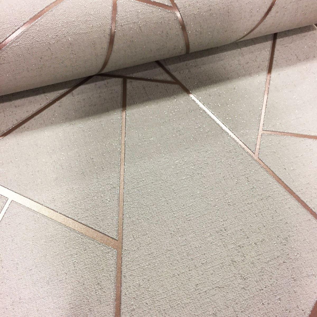 Rotgold-Tapete-Grau-Creme-Exotisch-Blumen-Tropisch-Palme-Blaetter-Geometrisch Indexbild 58