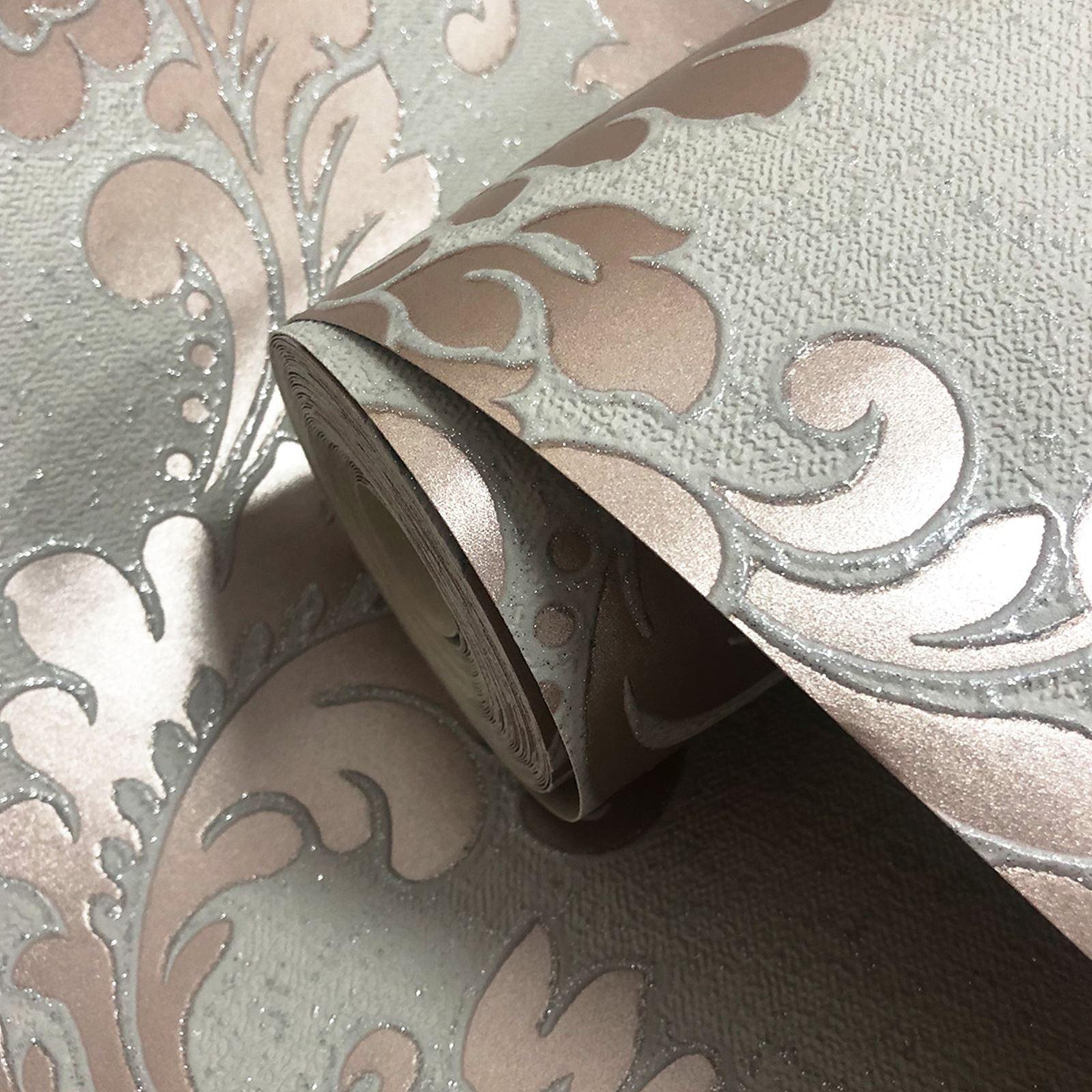Rotgold-Tapete-Grau-Creme-Exotisch-Blumen-Tropisch-Palme-Blaetter-Geometrisch Indexbild 51