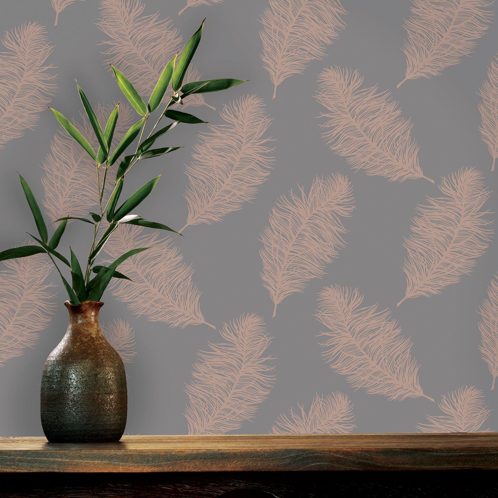 Rotgold-Tapete-Grau-Creme-Exotisch-Blumen-Tropisch-Palme-Blaetter-Geometrisch Indexbild 26