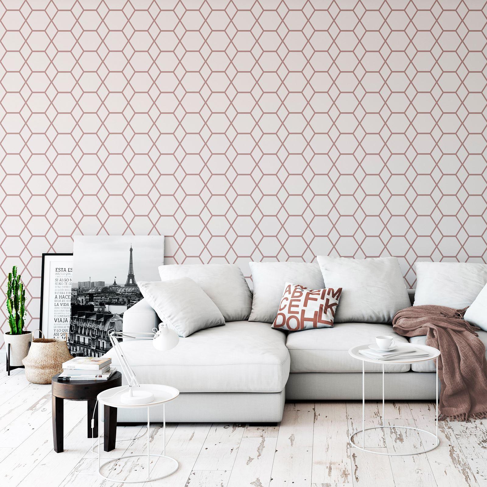 Rotgold-Tapete-Grau-Creme-Exotisch-Blumen-Tropisch-Palme-Blaetter-Geometrisch Indexbild 18