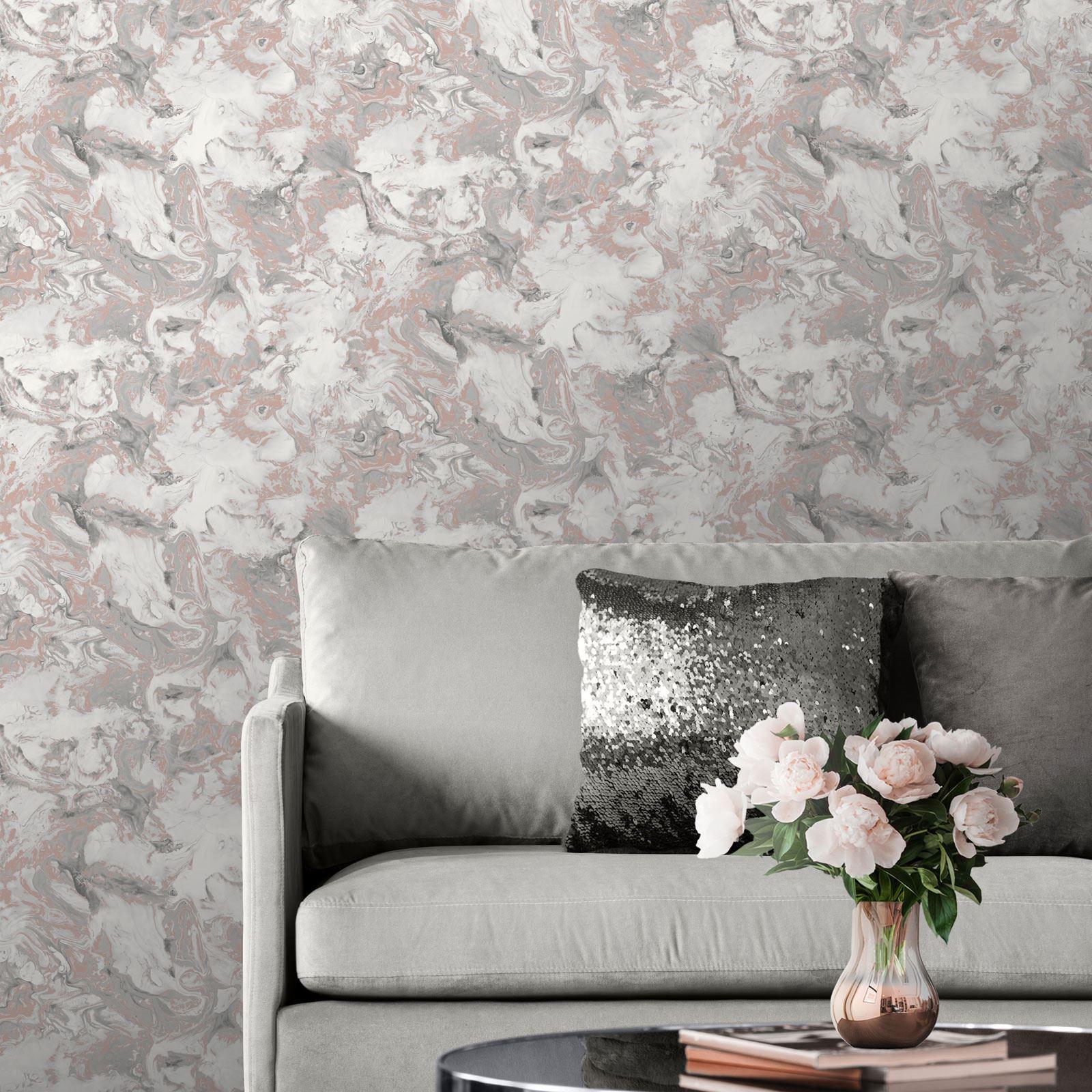 Rotgold-Tapete-Grau-Creme-Exotisch-Blumen-Tropisch-Palme-Blaetter-Geometrisch Indexbild 38