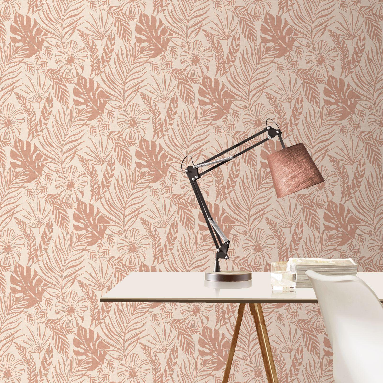 Rotgold-Tapete-Grau-Creme-Exotisch-Blumen-Tropisch-Palme-Blaetter-Geometrisch Indexbild 49