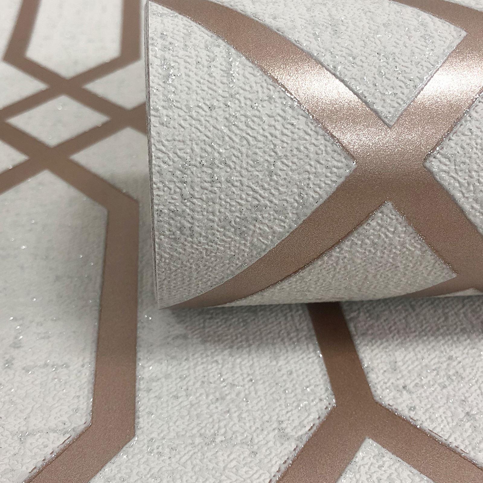 Rotgold-Tapete-Grau-Creme-Exotisch-Blumen-Tropisch-Palme-Blaetter-Geometrisch Indexbild 63