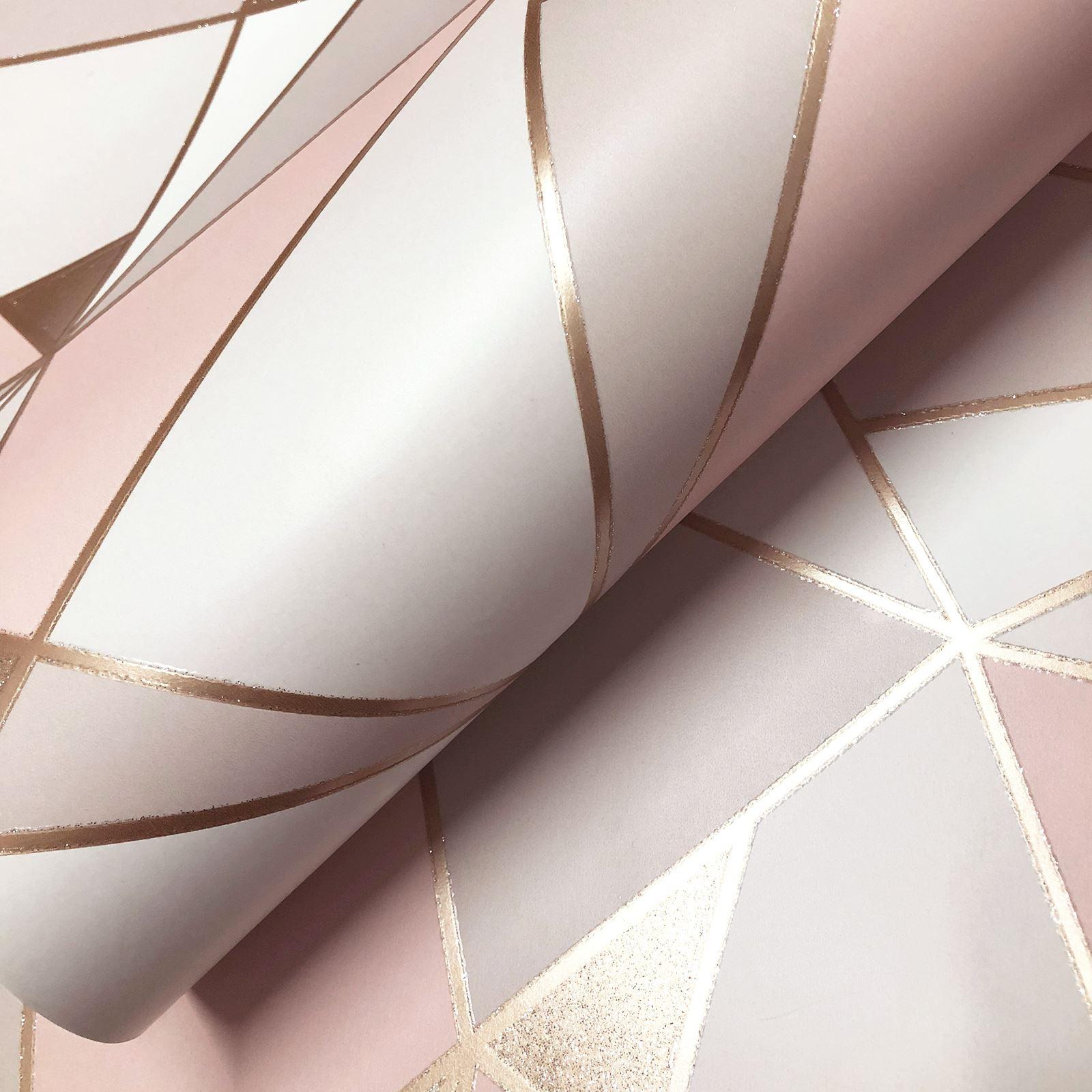 Rotgold-Tapete-Grau-Creme-Exotisch-Blumen-Tropisch-Palme-Blaetter-Geometrisch Indexbild 71