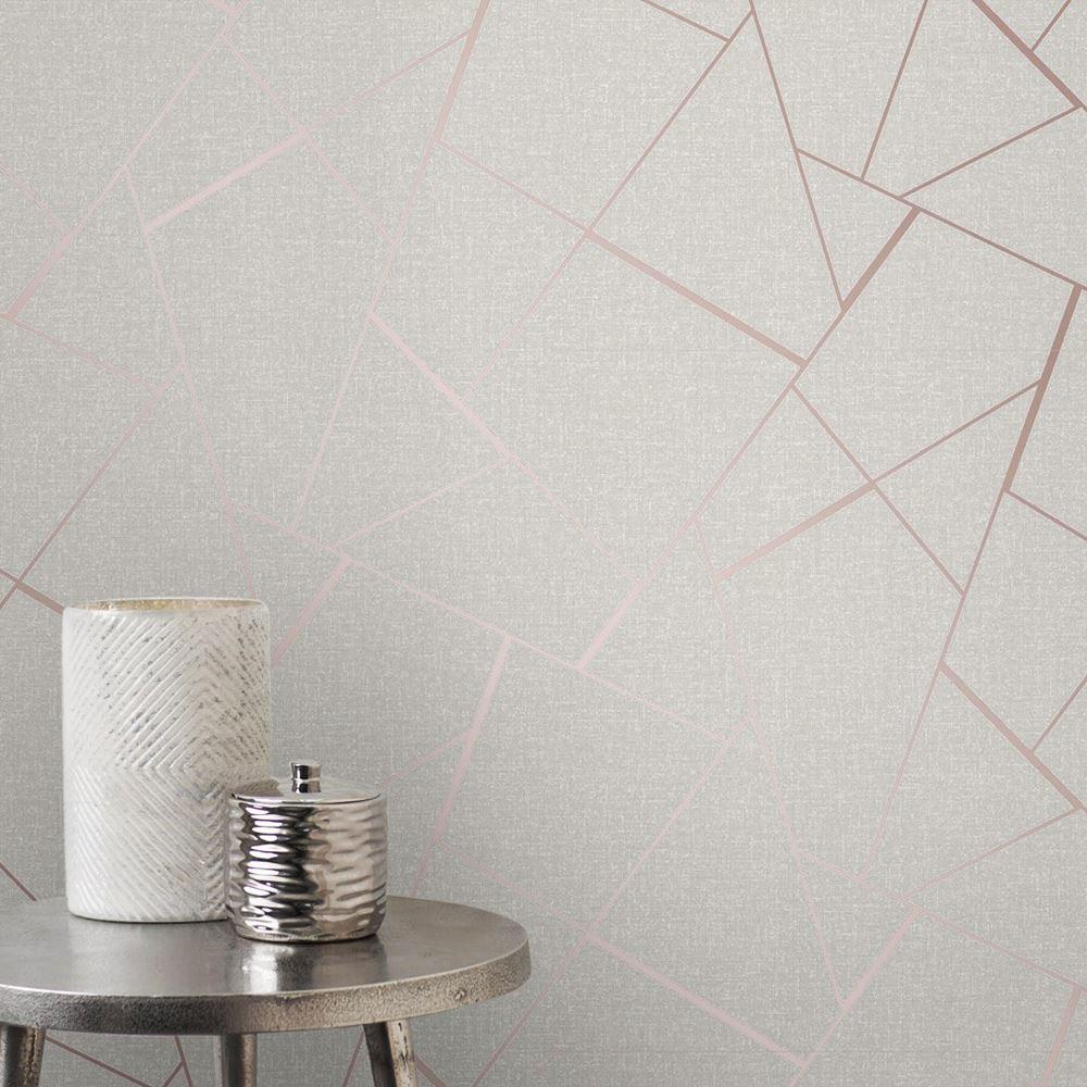 Rotgold-Tapete-Grau-Creme-Exotisch-Blumen-Tropisch-Palme-Blaetter-Geometrisch Indexbild 57
