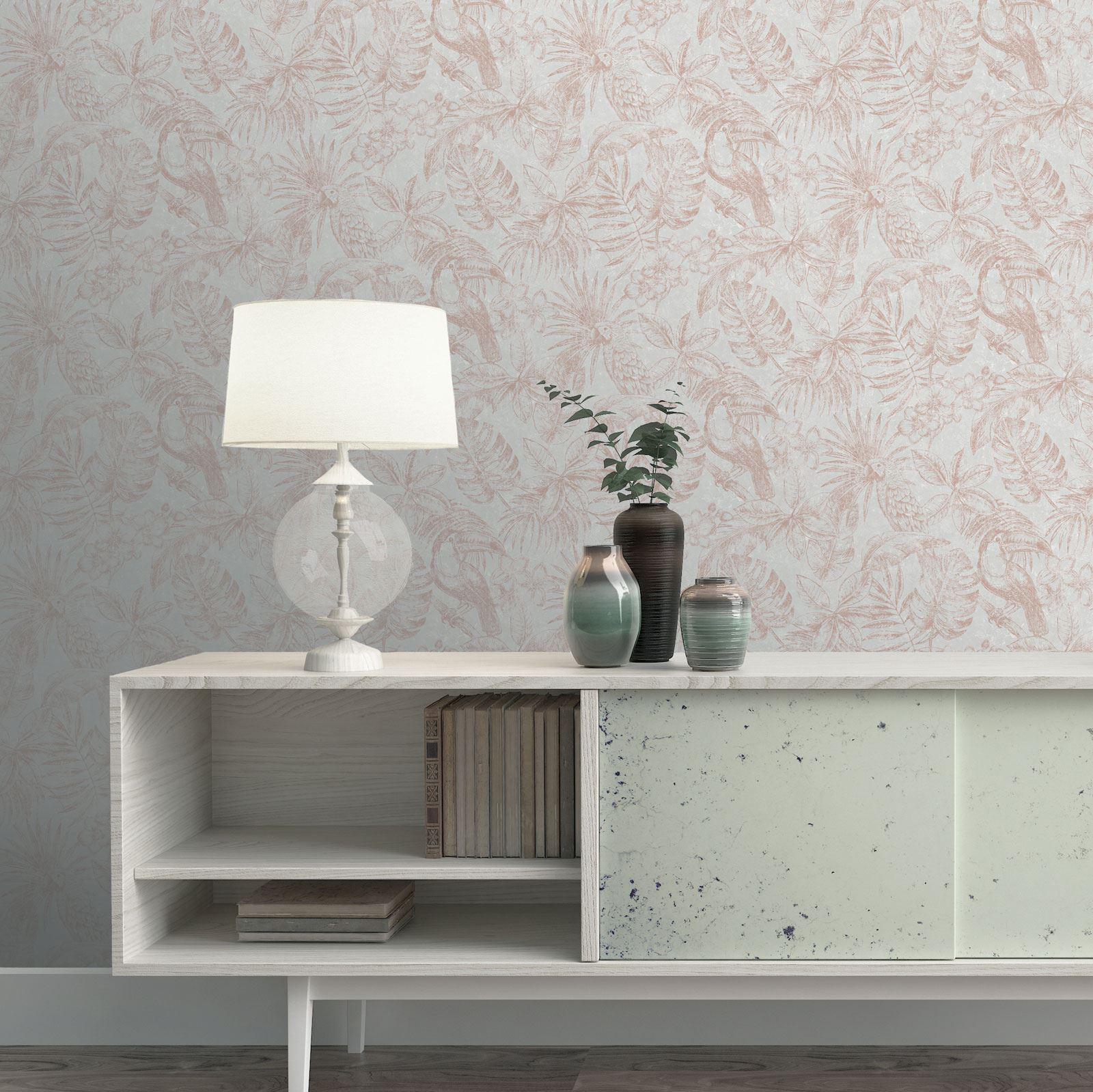 Rotgold-Tapete-Grau-Creme-Exotisch-Blumen-Tropisch-Palme-Blaetter-Geometrisch Indexbild 67